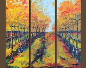 """Vineyard Vines Art, Vineyard Painting, 72"""", Large Wall Canvas Art, MADE TO ORDER, Wine Country, Napa Valley California Landscape Artwork"""