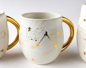 Constellation Mug in White and Gold - Astrological Sign Mug - Zodiac Mug - Made to Order, Modern Mud, White and Gold Mug