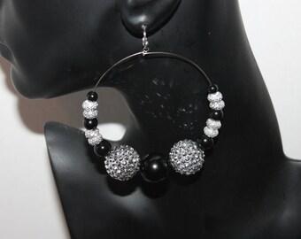 Black & silver sparkle acrylic beaded hoop earrings;Basketball wives;Big hoop earrings;Sparkly fireball earrings;Pierced or clip-on earrings