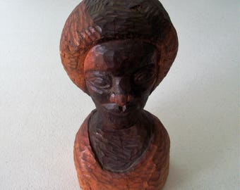 Hand Carved Solid Wood Folk Art Statue Of A Woman