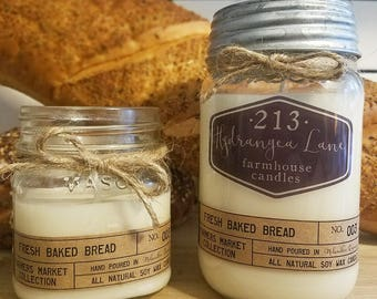 fresh baked bread scented farmhouse candle. *farmers market collection* mason jar candle. 8 oz. 16 oz. 100% soy.