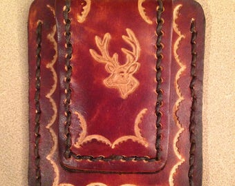 Tooled Brown Leather Credit Card Magnetic Money Clip - Buck Head