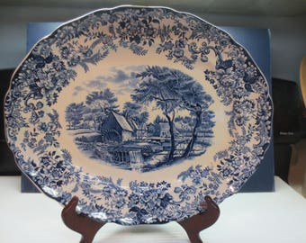 "Vintage Johnson Brothers China Platter, 14 x 12"" Mill Stream Blue, England"