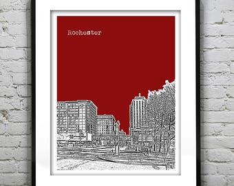 Rochester New York Skyline Art Print Poster NY Version 3