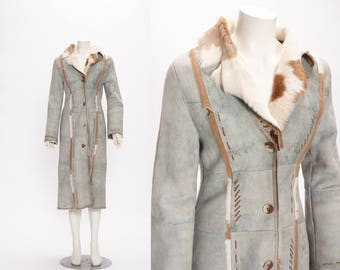 artisan made shearling coat in blue vintage 1990s • Revival Vintage Boutique
