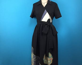 Black dress - kimono - wrap dress- flowers - used kimono of vintage silk - US size 6