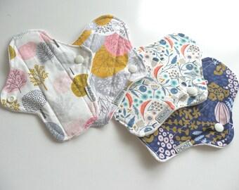 Set of 4 Bamboo & Organic Cotton Cloth Panty Liner-Floral set