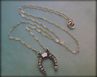 Vintage Horseshoe Necklace  - Sterling Silver  - Lucky Horse Shoe  Rhinestone Pendant