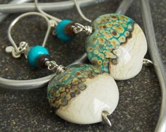Beachy Sand Artisan Long Dangle Earrings. Handmade Jewelry. Lampwork Earrings. Bohemian Jewelry