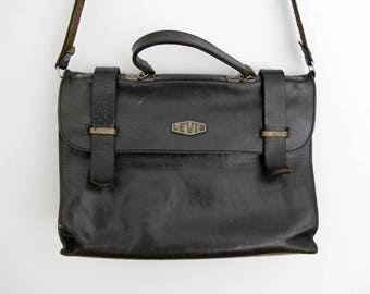 Vintage Bag // LEVI'S Dark Brown Leather Messenger Bag