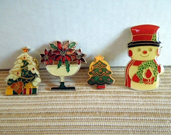 Vintage Christmas Lapel Pins, Poinsettia, Snowman and Trees