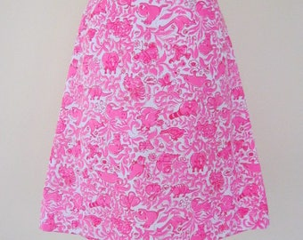 Vintage Lilly Pulitzer The Lilly Pink White Asst Animals Print Cotton A-Line Skirt