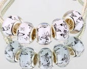 White and Black Butterfly Acrylic European Beads - 10 beads
