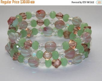 20%OFF Light Green and Blush Czech Glass Opaque Green Clear Crystal Wrap Bracelet