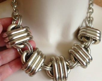Necklace  - oversize chunky heavy silver looking chain necklace