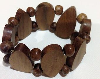 Bracelet  - Unusual elasticated wooden bracelet
