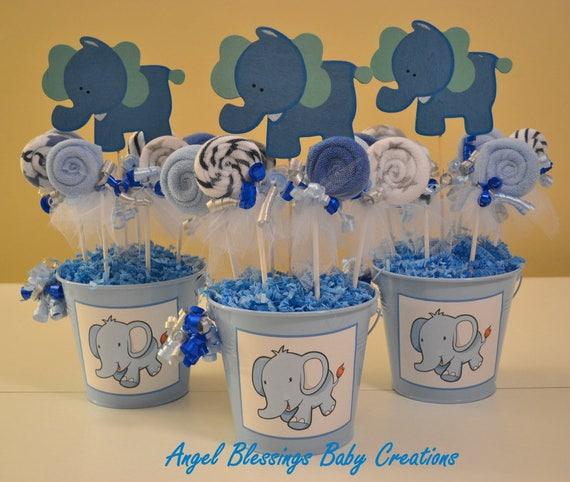 Elephant Baby Shower Centerpiece With Washcloth Lollipop