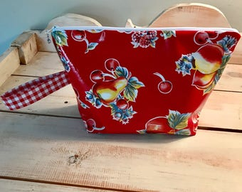 Cosmetic Bag in Red Fruit & Red Dot Oil Cloth