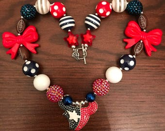 NFL Houston Texans Football inspired Bubble Gum Necklace (Adult)