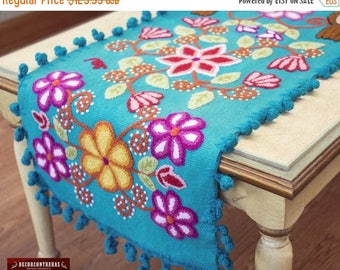 """SAVE 10% Turquoise Table runner Sheep Wool """"Magical Andean"""" - Embroidered Table Runners 47in - Floral table runner - Embroidery peruvian Tex"""