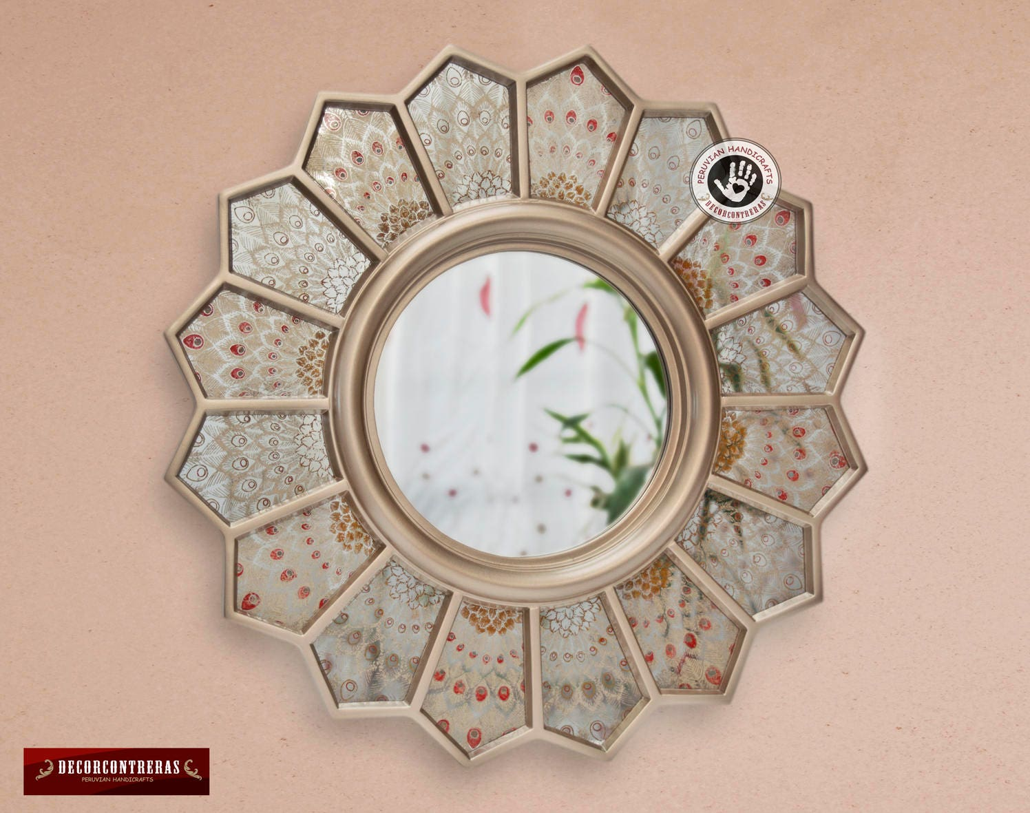 New Round Sunflower Wall Mirror Silver Peacock