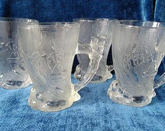 McDonald's Flintstone Mammoth Glass Mugs 1993 Set of 4