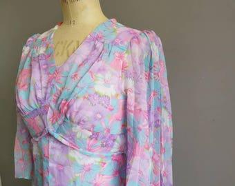 60s floaty maxi dress / bohemian pastel maxi dress / festival boho long dress / flared sleeves / long floaty pink 60s dress / 60s maxi UK 8