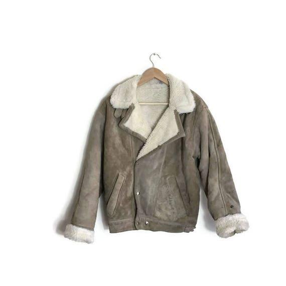 Vintage aviator jacket / suede leather bomber jacket / 70s fleece lined leather jacket / worn in vintage leather jacket warm leather jacket