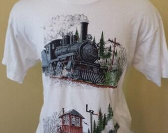 20% OFF SALE Vintage Trains 1990's tshirt - Hipster tshirt - 1990s vintage t-shirt - 90s vintage t shirt -  Cool tshirt (XL)