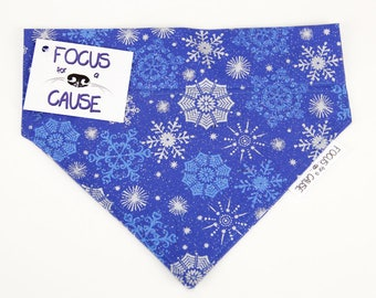 Blue with Silver Snowflakes Bandana, Christmas Dog Bandana, Winter Pet Bandana, Holiday Bandana, Focus for a Cause