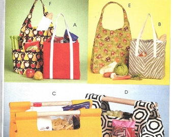 McCall's Fashion Accessories Pattern 5898 MARKET TOTES & Bottle CARRIER