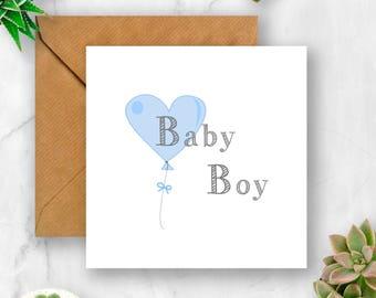 Balloon Baby Boy Card, New Baby Card, Baby Card, Unique Baby Card, Cute Baby Card, Card for New Baby, Card for Baby Boy, Card for Baby
