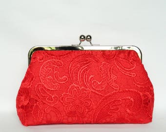 Red Lace Clutch Purse, Red Clutch Purse, Red Lace Bridal Clutch Purse, Wedding Clutch Purse, Bridesmaid Clutch, Evening Clutch