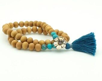 Flower, Turquoise & Sandalwood Mala Bracelet on stretch cord, double wrap, 54 bead mala