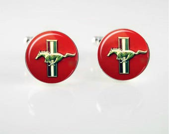 Vintage Ford Mustang Emblem Cuff Links or Tie Clip