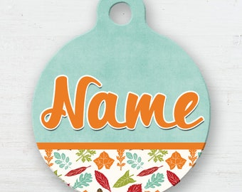 Fall Leaves Pet Tag, Autumn Personalized Tag, Double Sided, Name Tag, Cat Tag, Fall Colors, Autumn ID Tag, K9 ID Tag,Name Badge, Colorful