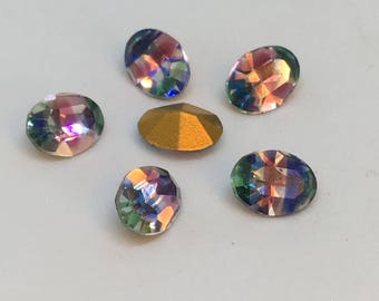 Vintage Glass Iris or Rainbow colour Oval foiled stone jewels approx 8mm x 6mm - 6 pieces