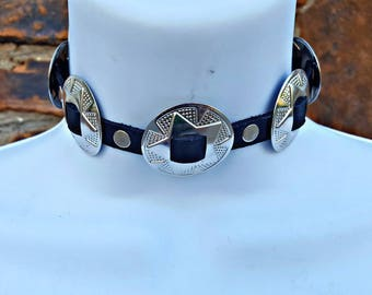 Concho Real Leather Choker