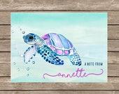 WaterColor Sea Turtle Notecards - Set of 20
