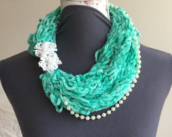 Mint green scarf necklace, Infinity scarf necklace