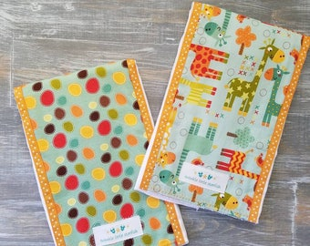 NEW: Infant Burp Cloth Set- Teal Giraffes with Spots (set of 2)
