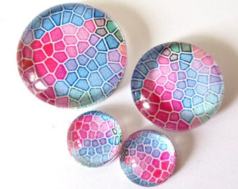 "Set 4 ""Tile 6"" (craftsmanship) theme cabochons 12mm / 20mm / 25mm"