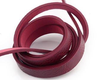1.15 m lace flat 10 mm BORDEAUX leather strap
