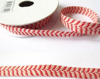 1.8 m x Ribbon cotton fancy linen/Red 8mm