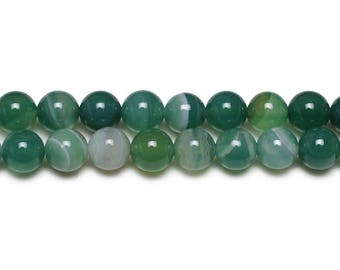 Natural Agate beads with 8mm emerald green 10 x