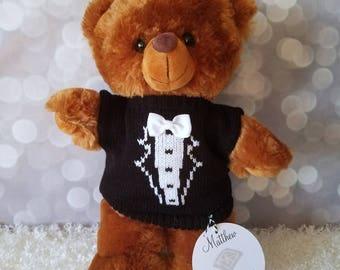 "Ring Bearer Gift, Brown 11"" Plush Teddy Bear, Personalized Gift, Wedding Keepsake"