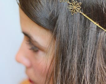 Headband Gold Flower elastic
