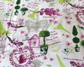 Fabric coupon 50 x 70 cm vintage Paris