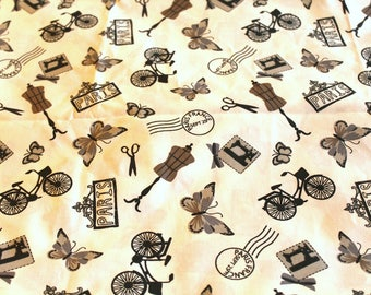 Fabric coupon 50 x 70 cm sewing theme
