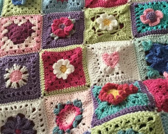 Beautiful Mixed Flower Garden Granny Square Blanket Throw